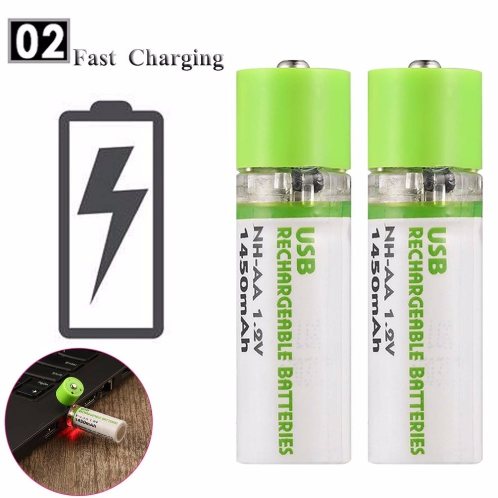 4pcs USB Rechargeable AA 1.2V 1450mAh Battery NI-MH Cells USB Charger Batteria With USB Port Led light Batteries For Charging