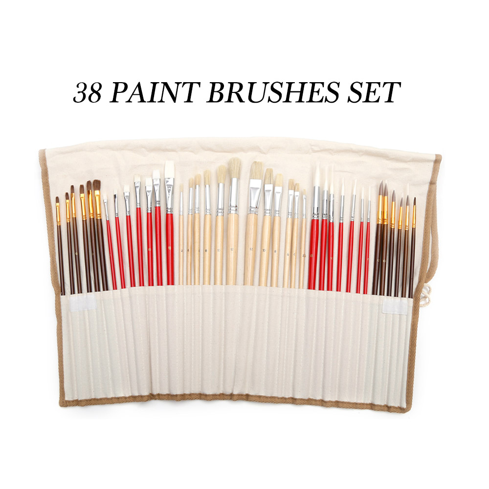 36/38pcs Assorted Paint Brushes Set Synthetic Natural Hair Brushes with Brush Case Art Supplies Watercolor And Oil Paint Brush36/38pcs Assorted Paint Brushes Set Synthetic Natural Hair Brushes with Brush Case Art Supplies Watercolor And Oil Paint Brush