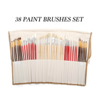 36/38pcs Assorted Paint Brushes Set Synthetic Natural Hair Brushes with Brush Case Art Supplies Watercolor And Oil Paint Brush