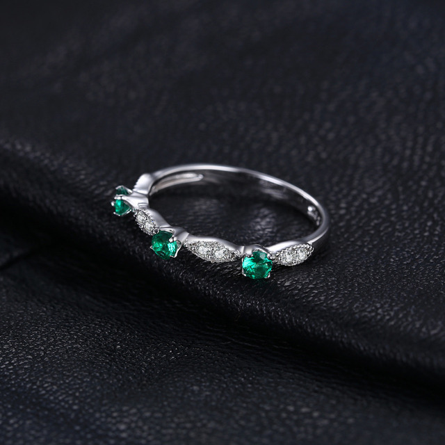 JewelryPalace 3 Stone Rings Created Emerald Wedding Engagement Rings Authentic 925 Sterling Silver Rings For Women Fine Jewelry