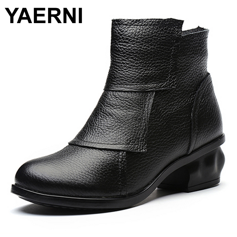 YAERNI Brand 2017 New Folk Style Genuine Leather Women Boots with Ankle Round Toe Mid Heels