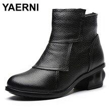 YAERNI Marke 2017 New Folk Stil Echtes Leder Frauen Stiefel mit Knöchel-runde Zehe Mid Heels Kurze Stiefel Weibliche Warme Winter Schuhe