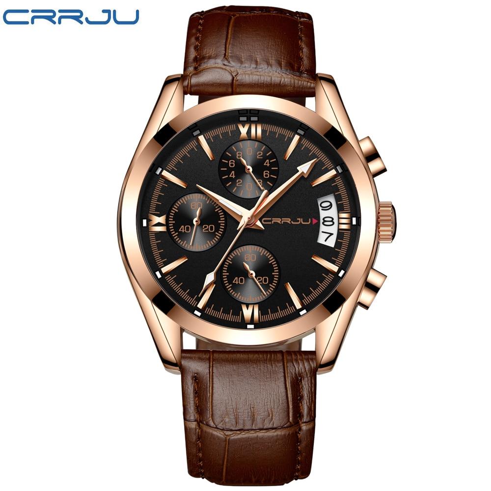 CRRJU Męskie Chronograp Sport Zegarki Luksusowe Złoty Zegarek - Męskie zegarki - Zdjęcie 2