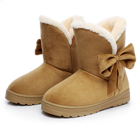 2017 Fashion Women Winter Snow Boots Female Ankle Boots With Bowtie Fur Warm Boot Woman Shoes