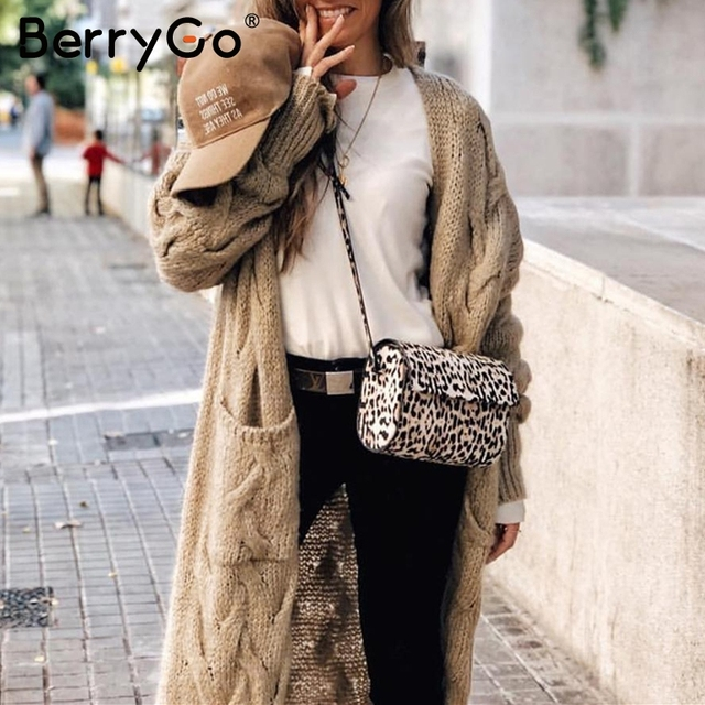 BerryGo Vintage mohair long cardigan women sweaters female Long sleeve pocket winter cardigans Casual knitwear knitted jumpers 1