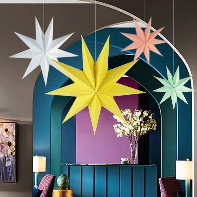 Buy 30cm 1x folded paper star lanterns 3d for 3d paper star decoration