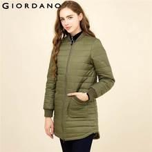 Giordano Frauen Jacke Solide Taschen Mid Lange Stepp Jacke Lange Ärmeln  Crewneck Winter Kleidung 2017 Marke Bekleidung 2fccdd8e0c