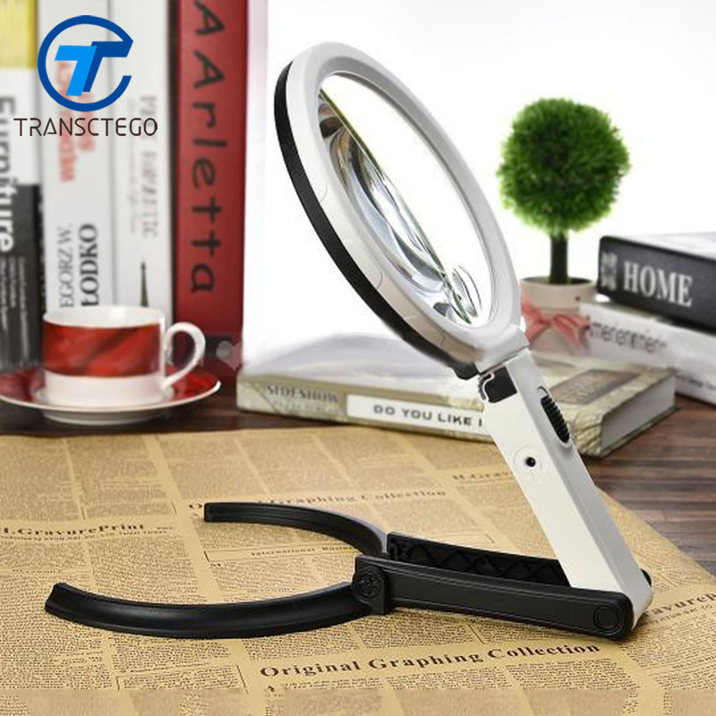 magnifying glass folding desk magnifiers lamp maintenance reading magnifier hand-held magnifying glass with led lights 6x to 10x new universal desktop magnifier usb with led light 10x for maintenance reading micro engraving magnifying glass
