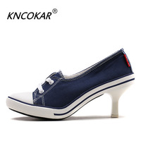 KNCOKAR In 2017 the new denim canvas slippers High heel fashion shoes with sexy casual and comfortable shoes holiday gifts