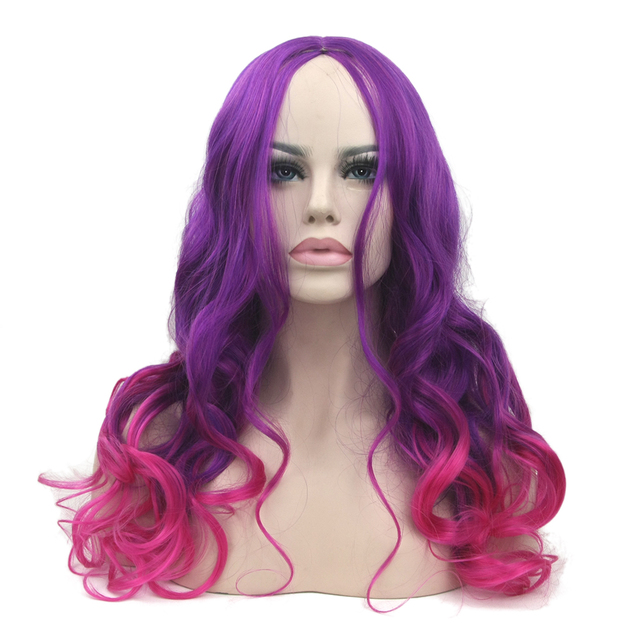 Soowee Long Wavy Synthetic Hair High Temperature Fiber Purple To Pink Wigs  Women s Party Cosplay Wig Hair Piece 47d209c28