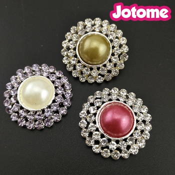20mm, 26mm, Choose Color First, For Invitation Card Bouquet Decoration Wedding Crystal with Pearl Round Shape Brooch Button