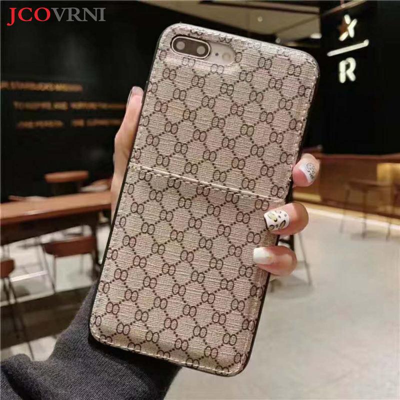 JCOVRNI Die Neue Klassische doppel O-muster karte halter für iphone XR XSMAX 7 plus 8 plus alle- inclusive schutz telefon zurück abdeckung