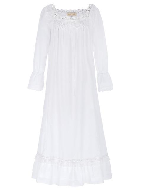 Mulheres Camisolas Das Senhoras 2016 New Arrival Estilo Vitoriano Sexy Cor Branca Manga Comprida Praça Neck Camisola de Algodão Desgaste Do Sono