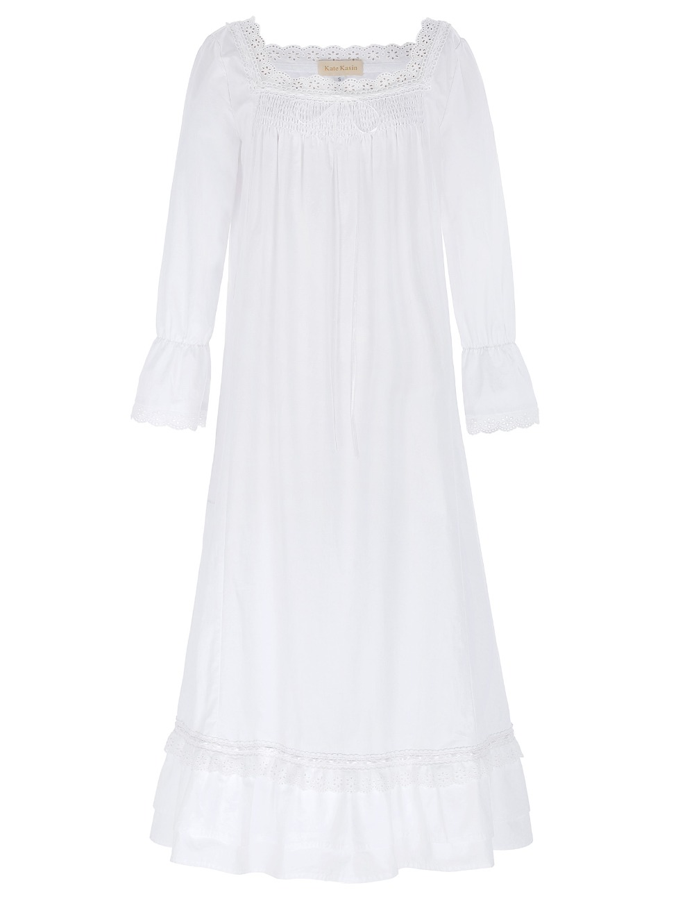 Women Ladies Nightgowns 2017 New Arrival Victorian Style Sexy White Color Long Sleeve Square Neck Cotton