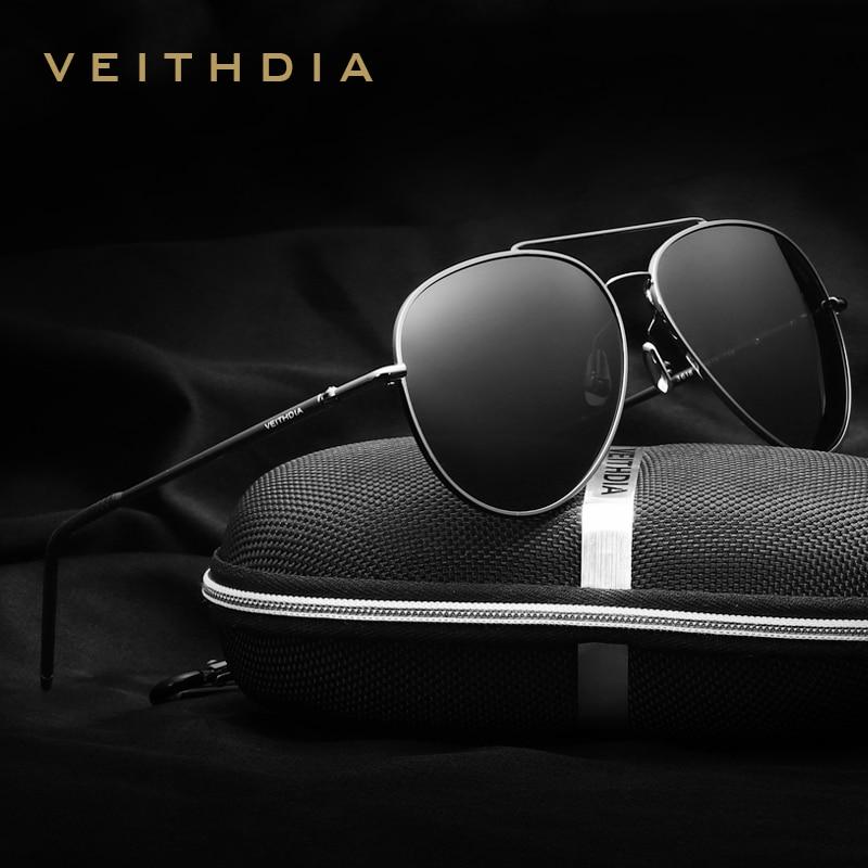 VEITHDIA Aluminium Magnesium Aviation Polariserade solglasögon för herrar märkesvaror Rotera 180 grader ben Solglasögon Kvinnors nyanser