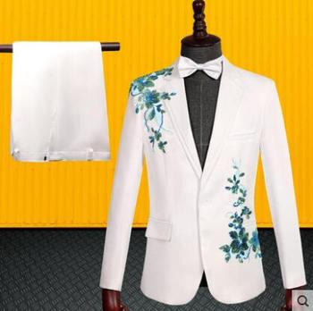 Blazer men groom suit set with pants mens Three-dimensional double-sided inlay suits sequins singer stage clothing formal dress