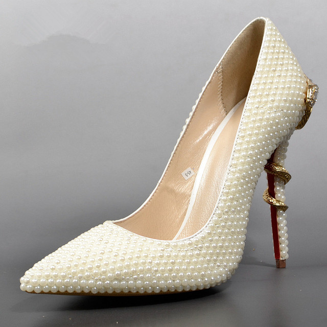 Pearl Wedding Shoes | Fashion Pearl Wedding Shoes Golden Snake Design Pointed Heels