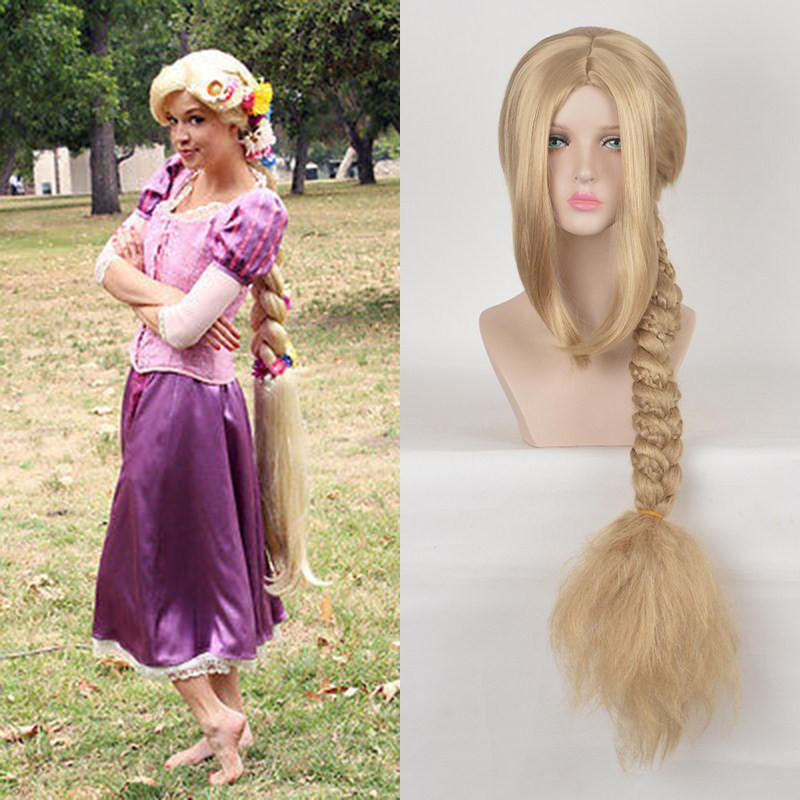 Peruca Cosplay Movie Tangled Princess Rapunzel Wig Extra Long Blonde Braid Synthetic Fluffy Long Hair Princess Hair Wigs Long Hair Princess Tangled Princesswig Long Hair Aliexpress