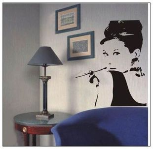 Audrey Hepburn DIY Vinyl Wall Stickers Home Decor Art Decals Design Portrait Wallpaper Bedroom Sofa House