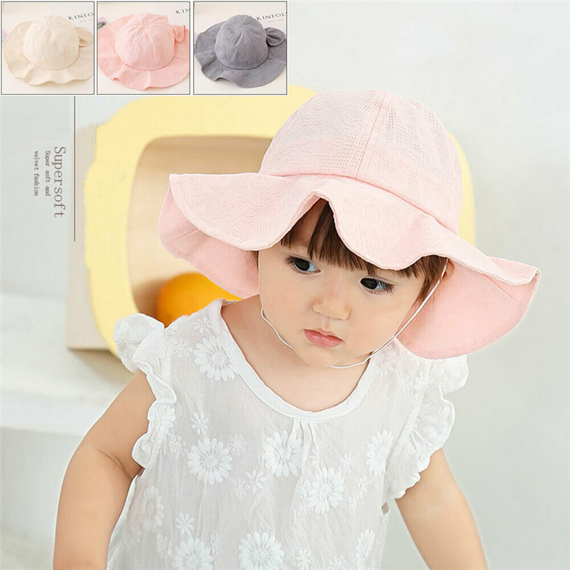 Floppy Children Kids Baby Girls Straw Wide Brim Hat Cap Sunhat Beach