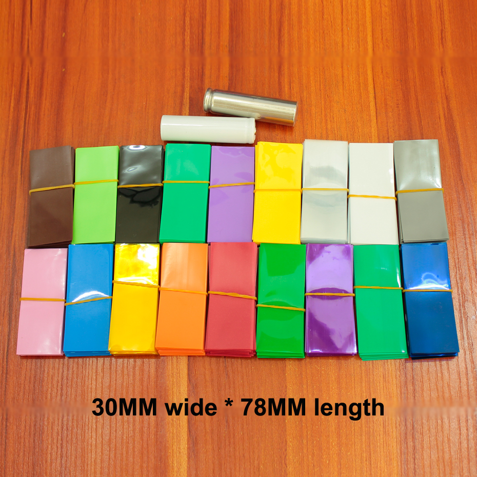 100pcs/lot 18650 Lithium Battery PVC Heat Shrinkable Film Shrink Sleeve Skin Blue Transparent Color Fruit Green Red 30*78MM Long
