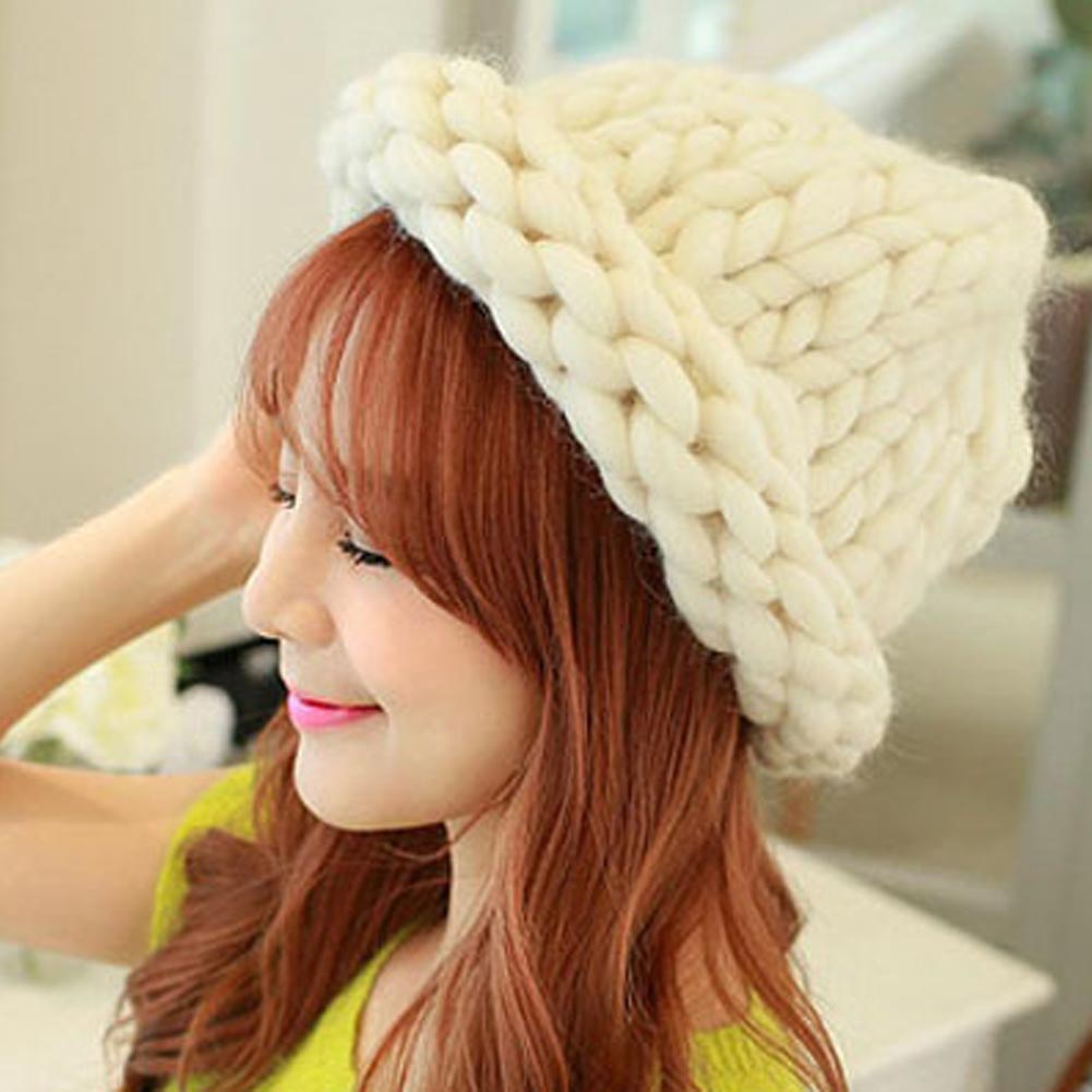 Fashion Winter Hat For Women Hand knitting Sweet Beanie Hat Warm Super Shag Line Cord Crochet Twist Caps  LB winter knitting patterns chunky crochet hat