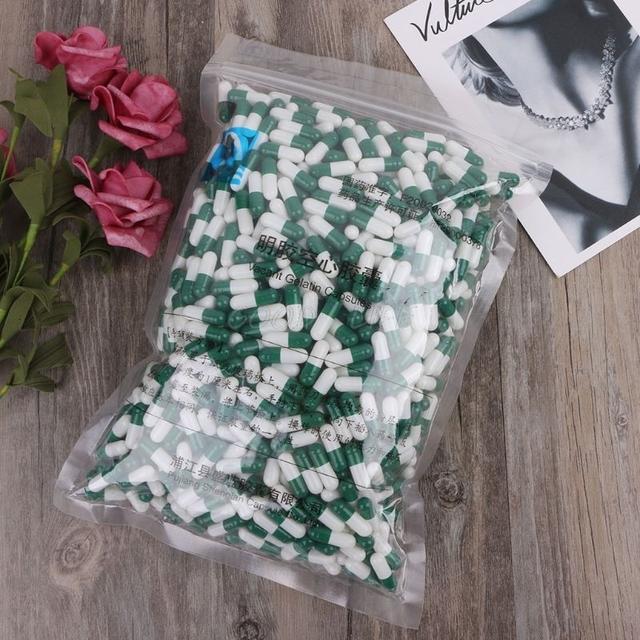 1000Pcs Green And White Empty Hard Gelatin Capsule Size 0# Medicine Pill Capsule