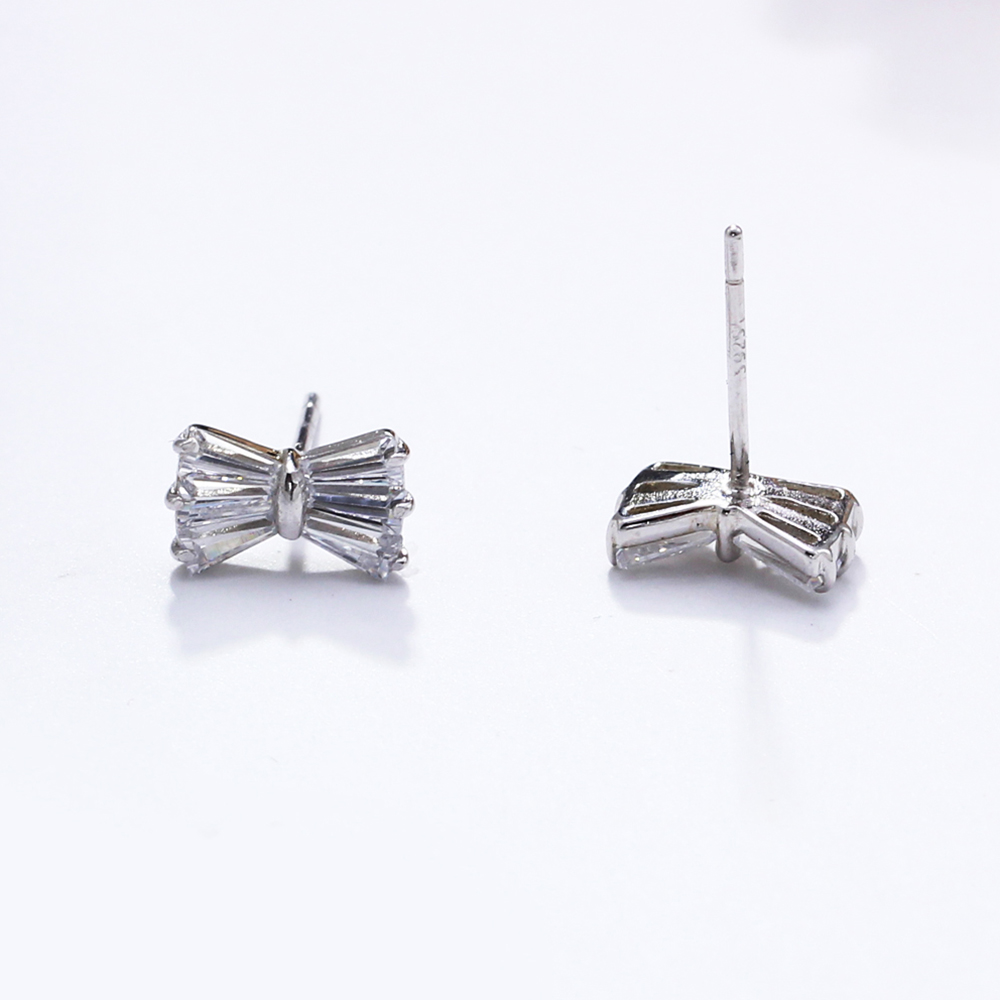 small bow silver earrings (3)