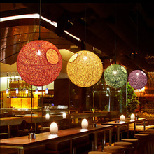 American Village Restaurant Bar Cafe Bedroom Lamp Nordic Simple Knitting Wool Sesame Ball Chandelier