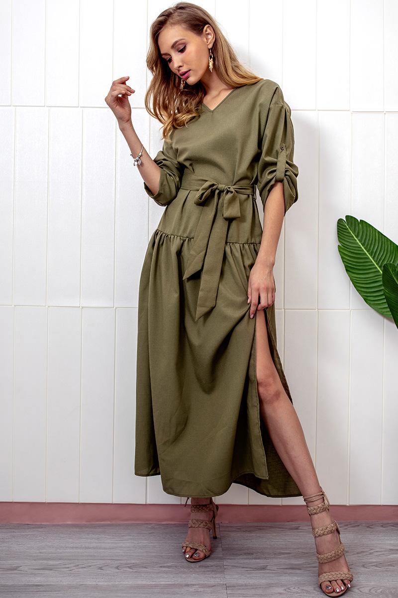 Spring Summer Cotton And Linen Dress Office Lady Split Cut Loose Indian Abaya Long Sleeve Ankle Length Long Dress Dcd 18375 Dresses Aliexpress