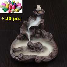 Backflow Incense Burners + 20 pcs Incenses Cones Censer