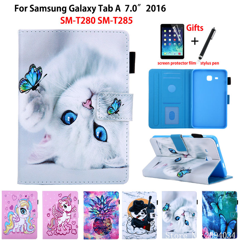 SM-T280 Case For Samsung Galaxy Tab A A6 7.0 2016 T280 T285 SM-T285 Cover Funda Fashion Cat Print Tablet Stand Shell +Gift
