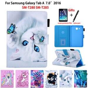 Image 1 - SM T280 מקרה עבור Samsung Galaxy Tab a6 7.0 2016 T280 T285 SM T285 כיסוי אופן בסיסי אופנה חתול הדפסת Tablet Stand מעטפת + מתנה