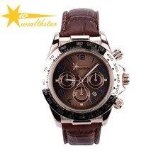 Nova moda esportes dos homens relógios rosa de ouro caso men quartz relógios couro strap homens moda casual relógios de pulso frete grátis