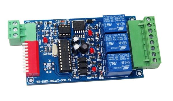 3CH DMX512 کنترل رله سوئیچ رله 3 کانال رسیور رمزگذار ورودی DC12V ، هر کانال حداکثر 10A