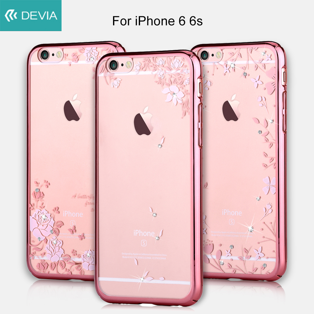 DEVIA Phone case for iPhone 6 s Shell Beautiful Crystal Plated PC Hard Case for iPhone 6 6s fundas Pretty Roses and Butterflies