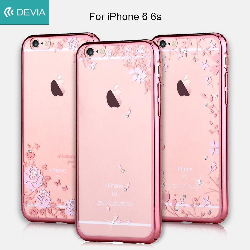 Цена за Devia телефона чехол для iPhone 6S Корпуса красивый кристалл позолоченный PC жесткий чехол для iPhone 6 6 S Fundas довольно розы и бабочки