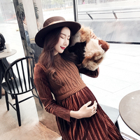 Fashion Autumn/winter Long skirt maternity Knitting dress Regnant women dress Fitness design Show thin Pregnant dress