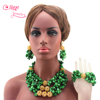 Amazing Green African Coral Beads Jewelry Set Real Natural Green Coral Ball Necklace nigerian Wedding beads Jewelry Set E1043