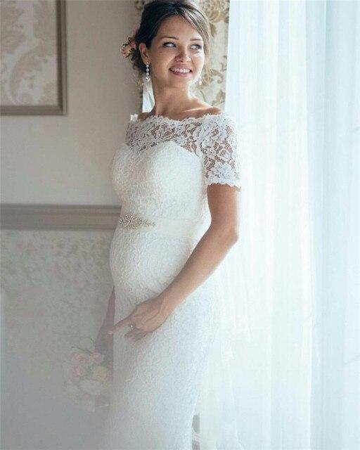 2017 embarazo conde de tren vestido de novia de encaje de cuello