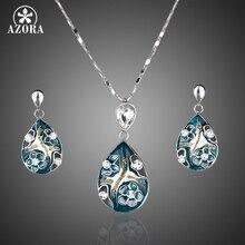 AZORA Platino Plateado señora Elegante Transparente de Cristal Colgante Pendiente y Colgante de Collar de La Joyería Set TG0001