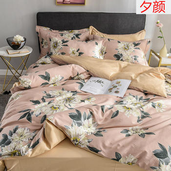 Satin-like cotton fabric Bedding Set Flesh color Bed Set Luxury egyptian cotton Bed Sheet Queen King size Duvet Cover Set
