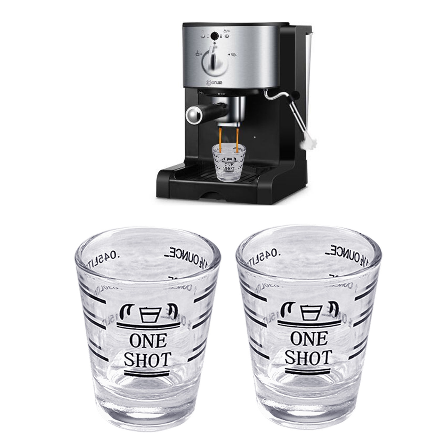 2Pcs 45ml 1.5oz Clear Glass Jigger Measuring Cup With Ml Oz 2 Measurement Unit For Home Espresso Wine Tools