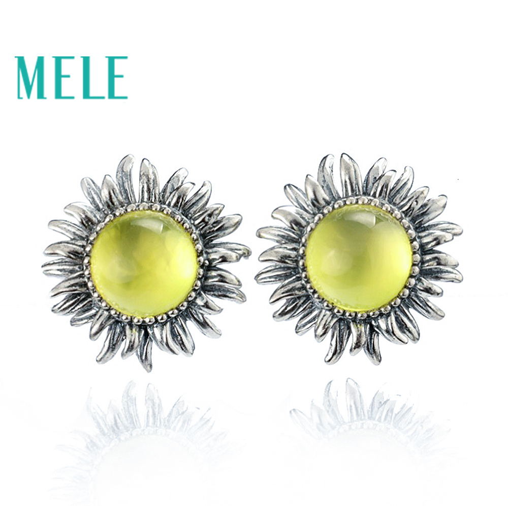 MELE Natural yellow prehnite silver earring , round 8mm, sunflower design, top quality for womens earring, retail and wholesaleMELE Natural yellow prehnite silver earring , round 8mm, sunflower design, top quality for womens earring, retail and wholesale