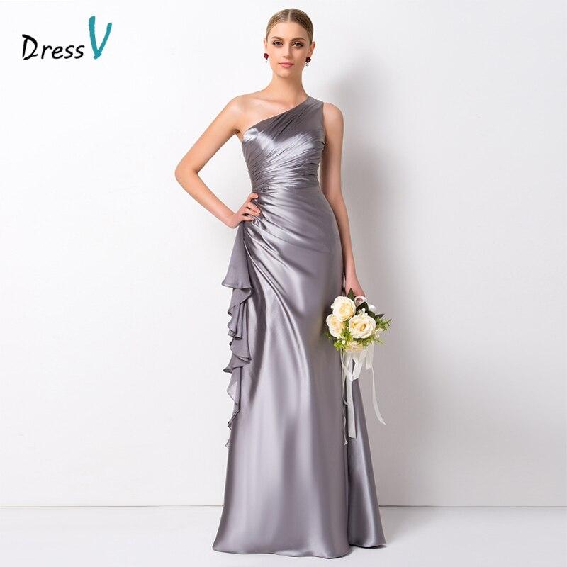Dressv Elegant One Shoulder Long Bridesmaid Dresses Floor Length A Line Ruffles Elastic Satin Prom Gown