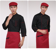 Men Chef Shirt Apron Hotel Overall Uniform Clothes Apron Double-breasted Pocket Stylish(China)