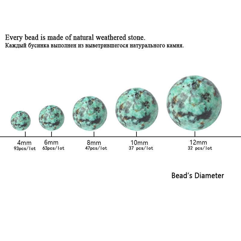 TopGoodsลูกปัดพลอยธรรมชาติสีเขียวแอฟริกันสีเขียวขุ่นหินหลวมลูกปัดลูกประคำ6/8/10มิลลิเมตรรอบอัญมณีหินสำหรับสร้อยข้อมือทำ