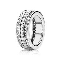 4 Size 925 Sterling Silver Charms Ring With Classic Wide Crystal Ring For Women Jewelry