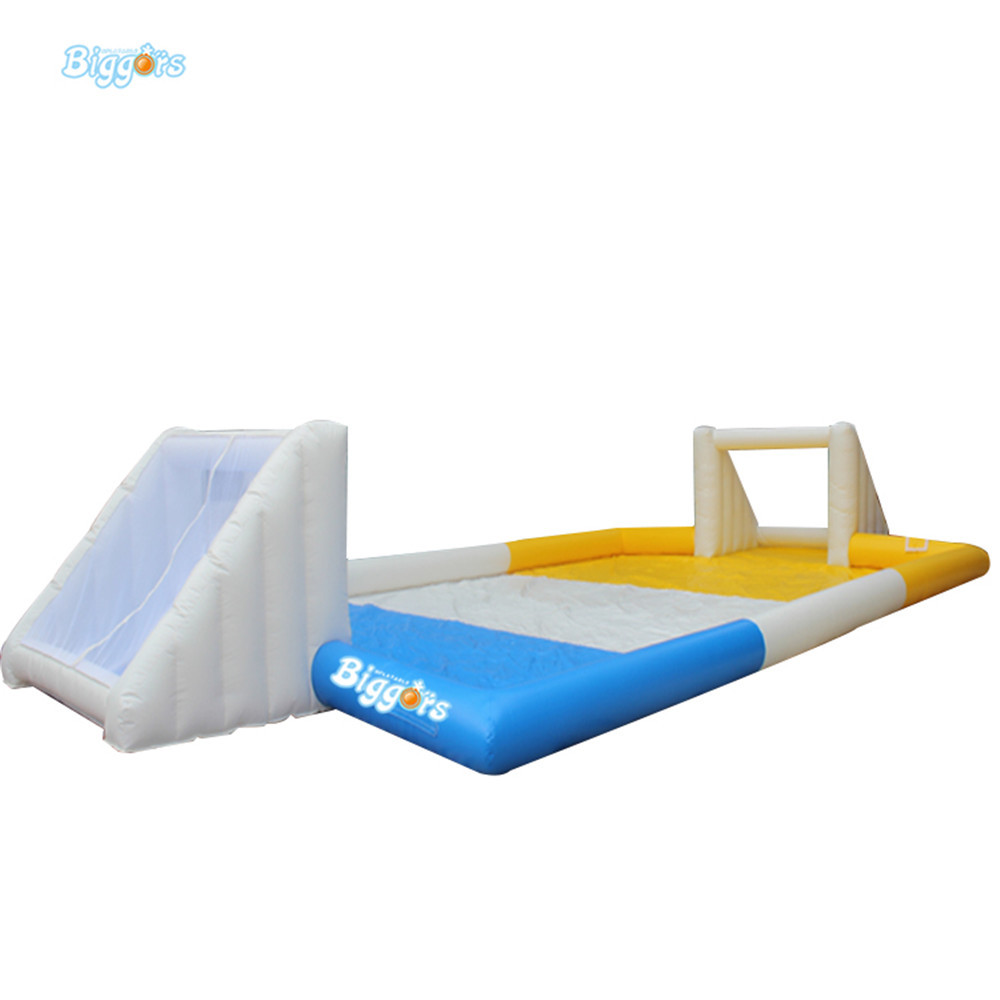 PVC inflatable football game soapy stadium with blowers