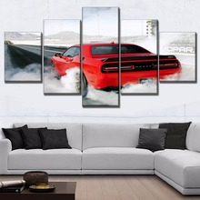 Wall Art Poster 5 Panel Smoke Red Vehicle Dodge Challenger Painting For Modern Living Room Decor Canvas HD Printing Type Picture стоимость